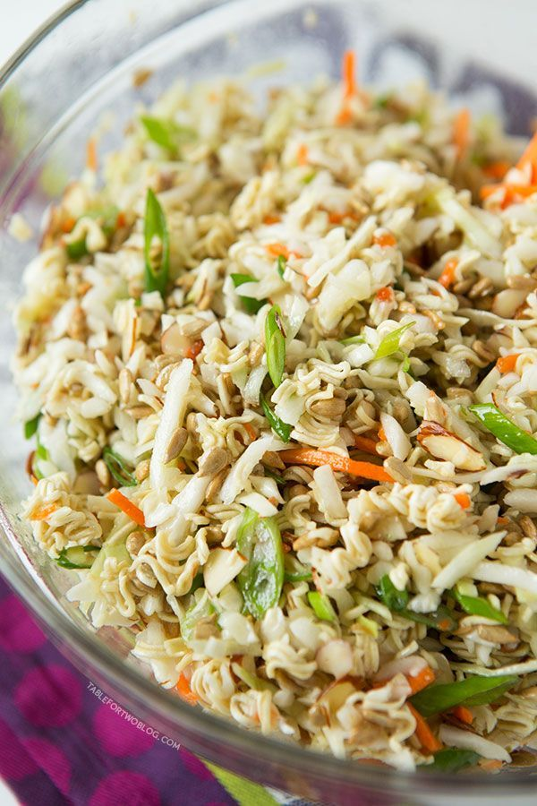 Ingredients  •1 (16 ounce) bag coleslaw mix  •1 cup sunflower seeds  •1 cup sliced almonds  •2 (3 ounce) bags ramen crushed  •5 stalks of scallions, sliced  •¾ cup vegetable oil  •⅓ cup white vinegar  •½ cup granulated sugar