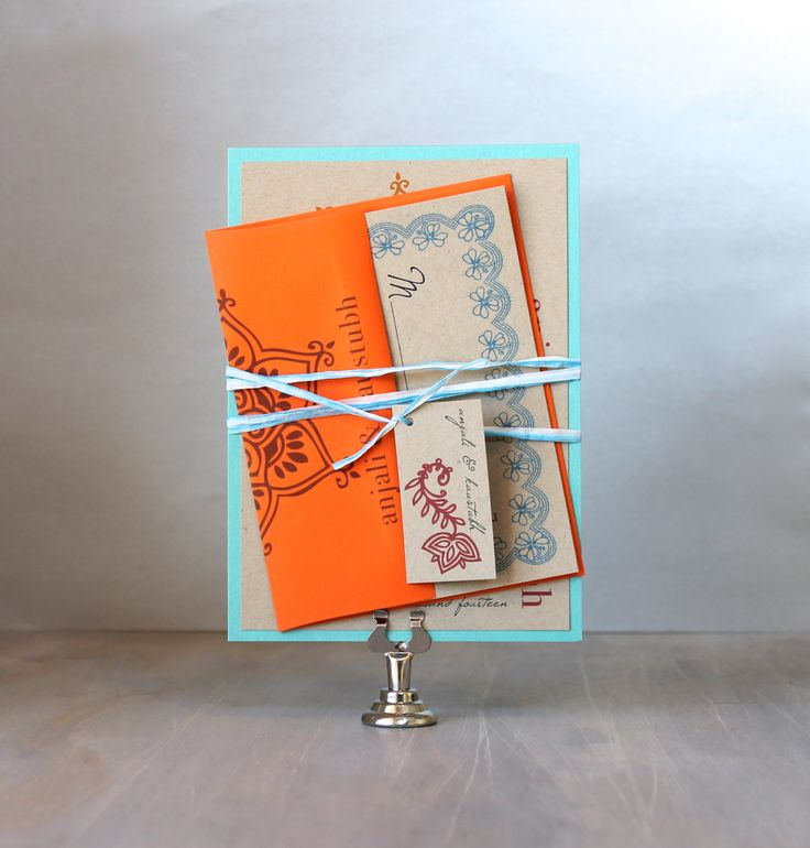 wedding cards with price in chennai%0A Henna Love  Eco Friendly  Boho Wedding Invitations  Orange  Red   u     Aqua   Purchase for a Sample  As Seen on Style Me Pretty