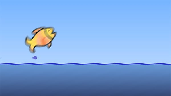 Leaping Fish Animated Video For Social Media - Grab people's attention on social media sites by adding this video when you share something! This video includes three different colored fish jumping out of the water, followed by a whale that exhales spray. No audio. 15 seconds long at 1080p resolution in H.264 MP4 format.