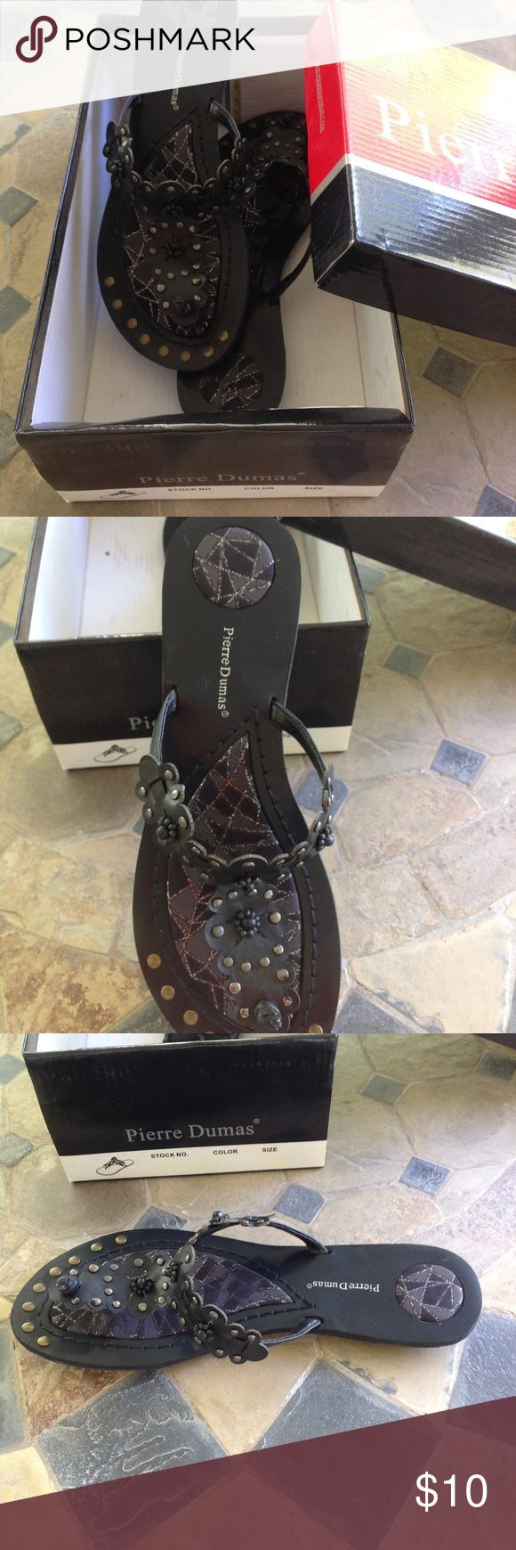 """Pierre Dumas """"Hayden"""" Black Sandals, Size 7 Woman's Black Sandals traction tread by Pierre Dumas """"Hayden"""" Pre-Owned with Box - cleaning out the closet and would like somebody to enjoy these cute sandals. Size 7 Pierre Dumas Shoes Sandals"""