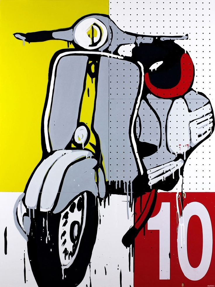 Vespa Scooter Painting Art Bike printing wall poster 24