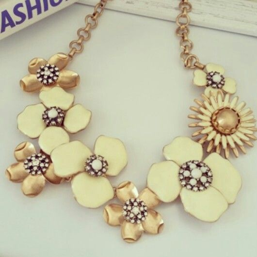 Cream Blossom - R200.  Statement Necklace Trend ♡ Email zulululuza@gmail.com for the latest catalogue.