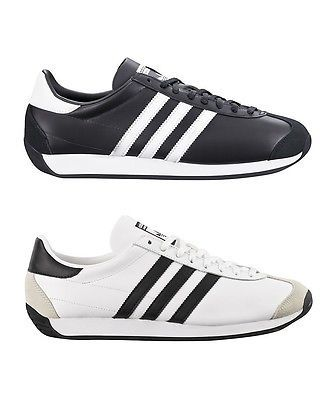 Scarpe Adidas Country OG Sneakers Vintage Uomo Pelle Nero Bianco Nuovo