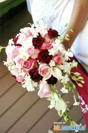 Bruidsboeket rood/roze