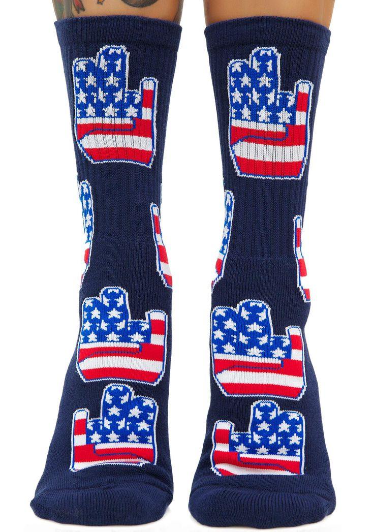 40s & Shorties Patriot Shocker Socks when everything's fu*ked. These crew socks feature a cushioned toe box and jacquard designs of patriotic shocker hands all over.