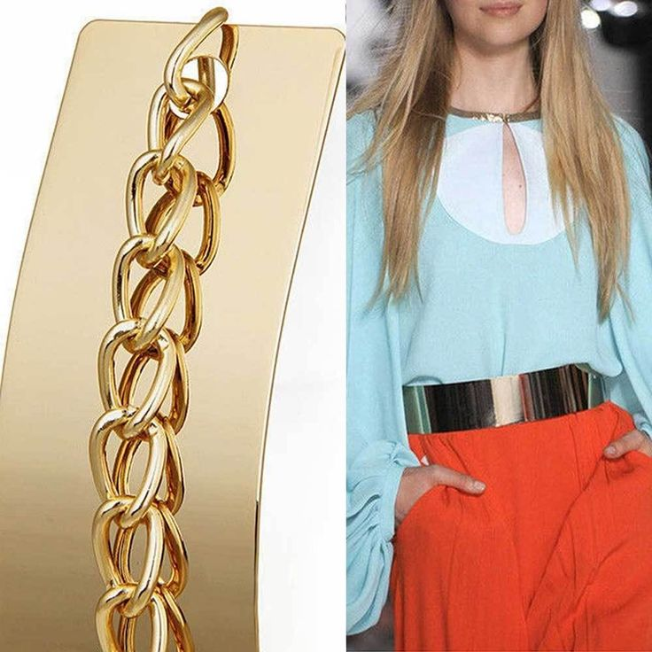 Fashion Metal Obi Band Mirror Waistband Women Gold Waist Wide Plate Chains Belt #Women#Belt#chain#  @$7.95 only