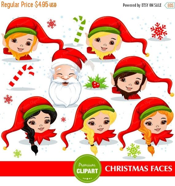 70% OFF SALE Christmas elf clip art, Elf faces clipart, Christmas clipart, Santa clipart, Christmas clip art - CA286 by PremiumClipart on Etsy