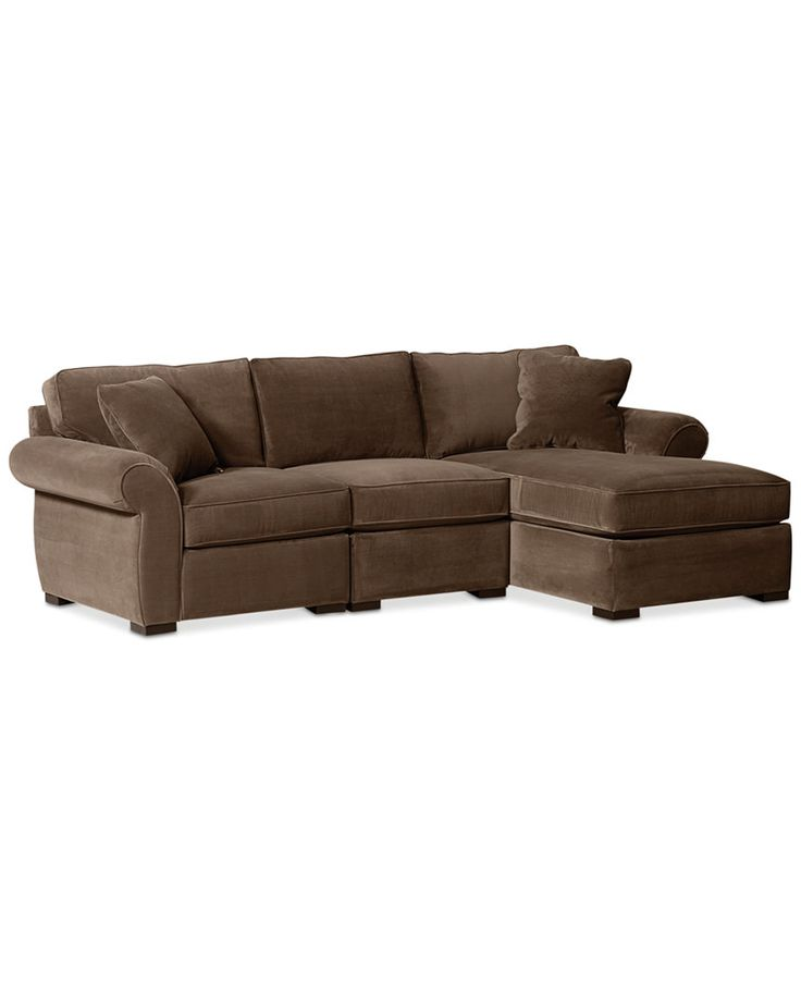 Trevor fabric 3 piece chaise sectional sofa sectional for 3 piece sectional with chaise