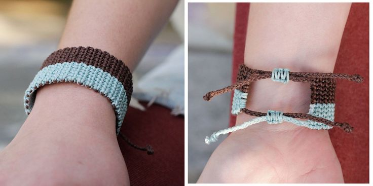 Macrame bracelet, made by brown and blue waxed cord..