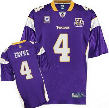 minnesota vikings brett favre 4 purple c patchjersey 50th anniversary patch