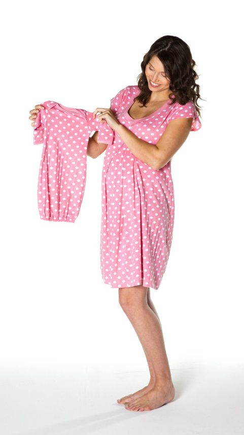 maternity/nursing nightgown with matching baby romper set. Matches also the Molly Gownie deisgner hospital gown and pillowcase!