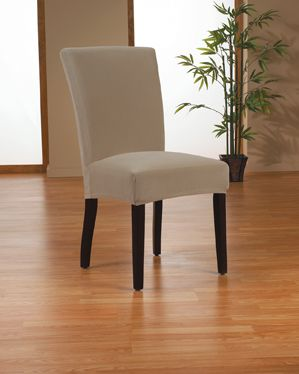 Stretch Velvet Mink Dining Chair Slipcover., Soft velvety surface, beige form fit slip cover upholstery for dining room chair, beautiful interior design, chic home decor