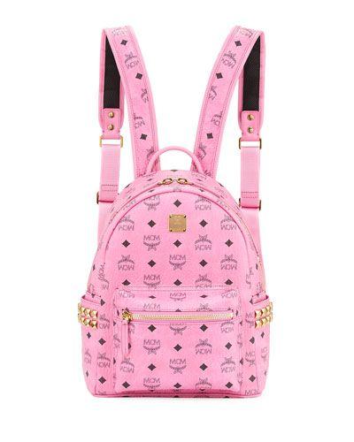 V2SZB MCM Stark Visetos Small Side-Stud Backpack, Pink