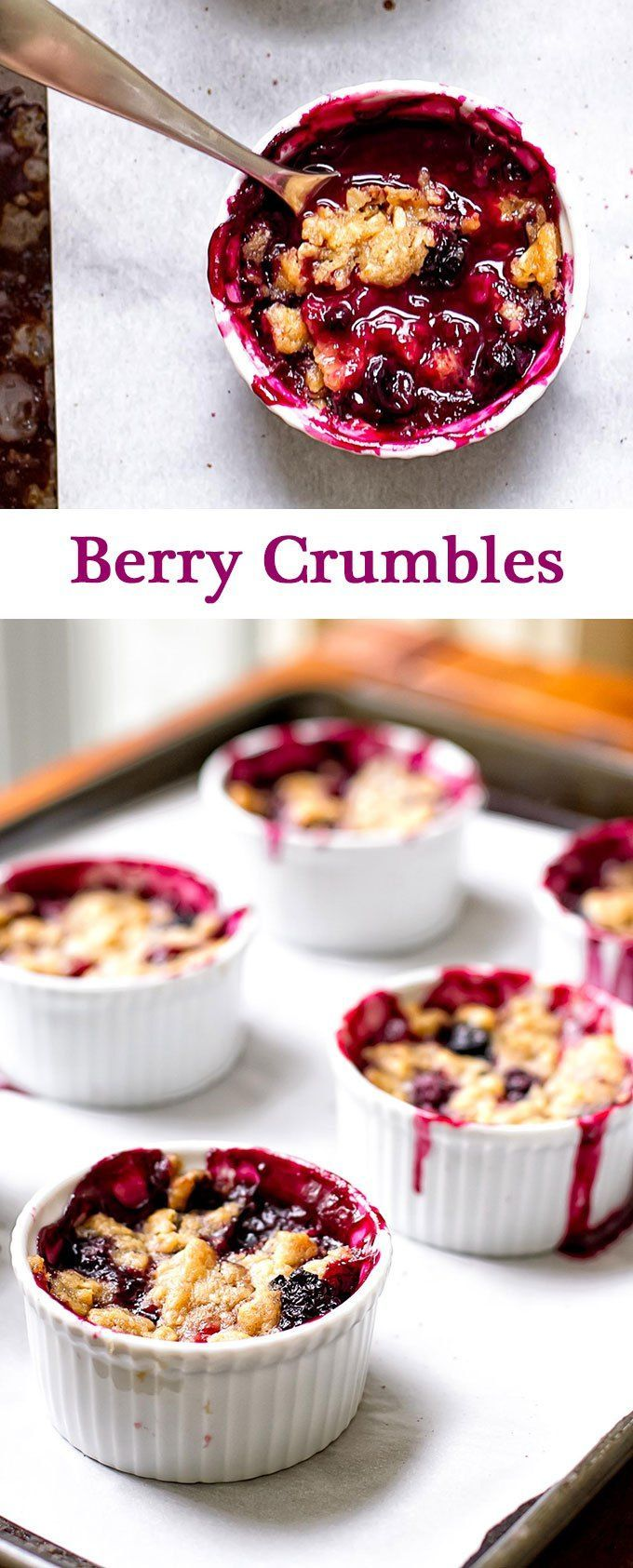 Berry crumbles made with blackberries, strawberries, and blueberries with a sweet and crunchy topping | girlgonegourmet.com