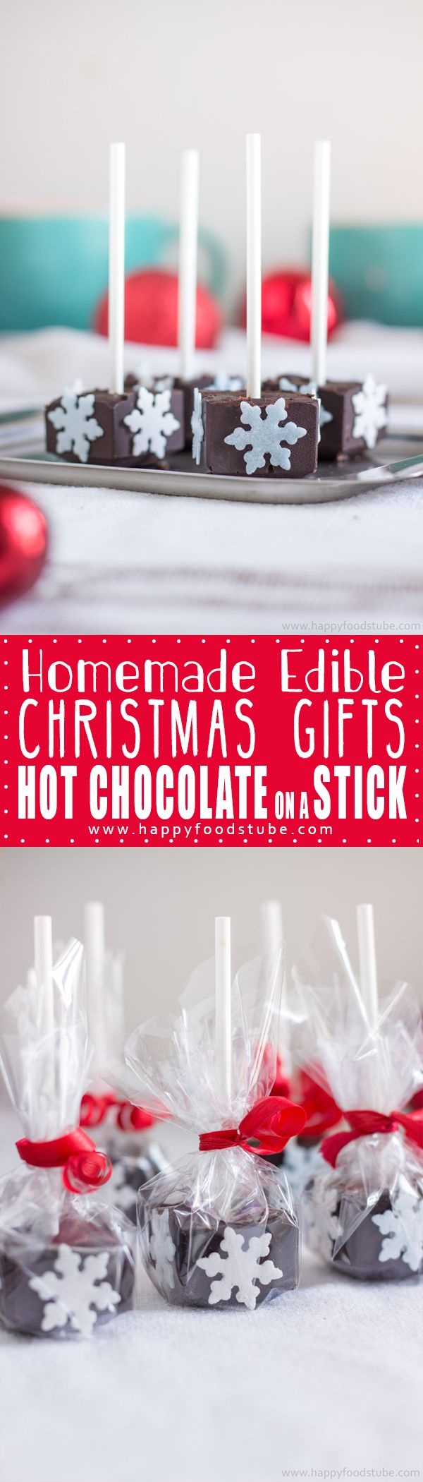 Homemade Hot Chocolate Sticks wrapped in cellophane will make a great edible gift not only for Christmas. Stir it in steamed milk and enjoy!   happyfoodstube.com