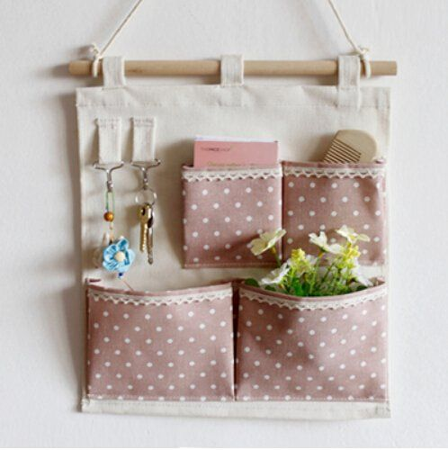 Pink Door Wall Space-saving hanging shelves Hanging Storage Bag 4 Bags Gadget Pouch Organizer Bag Foldable Wall pocket Hanging Organizer Wall shelf 30 * 35CM: Amazon.co.uk: Kitchen & Home