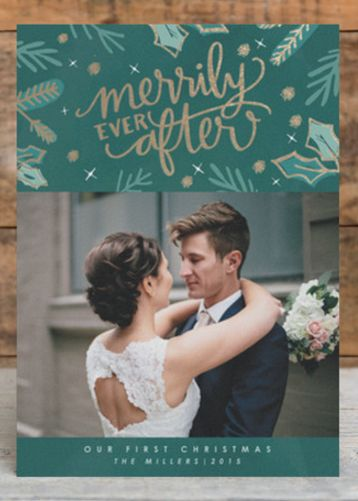 'Merrily ever after,' Christmas cards for the newlyweds http://www.styleyoursoiree.com/#!cards/ch6l