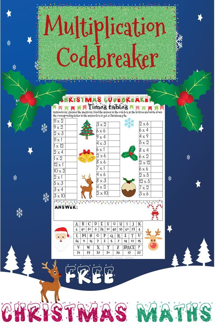 This Christmas Maths Code Breaker Gives Students Lots Of Practice At Their Times Tables Which Helps Them Christmas Math Activities Holiday Math Christmas Math