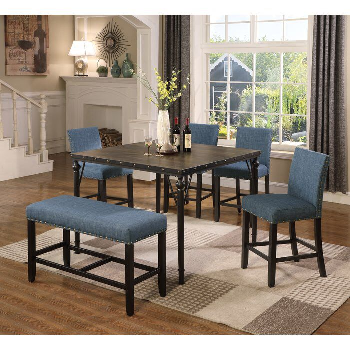 Haysi Counter Height 6 Piece Pub Table Set Dining Table With Bench Counter Height Dining Table Set Kitchen Table Settings
