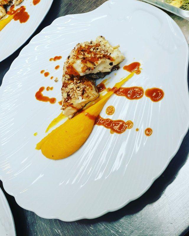 Seabass Saffron Cream Hazelnut And Tiger Prawn Sea Bass Chef