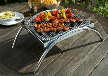 Simply pop a disposable BBQ into the chromed stand and away you go! No more mess or scorched grass.