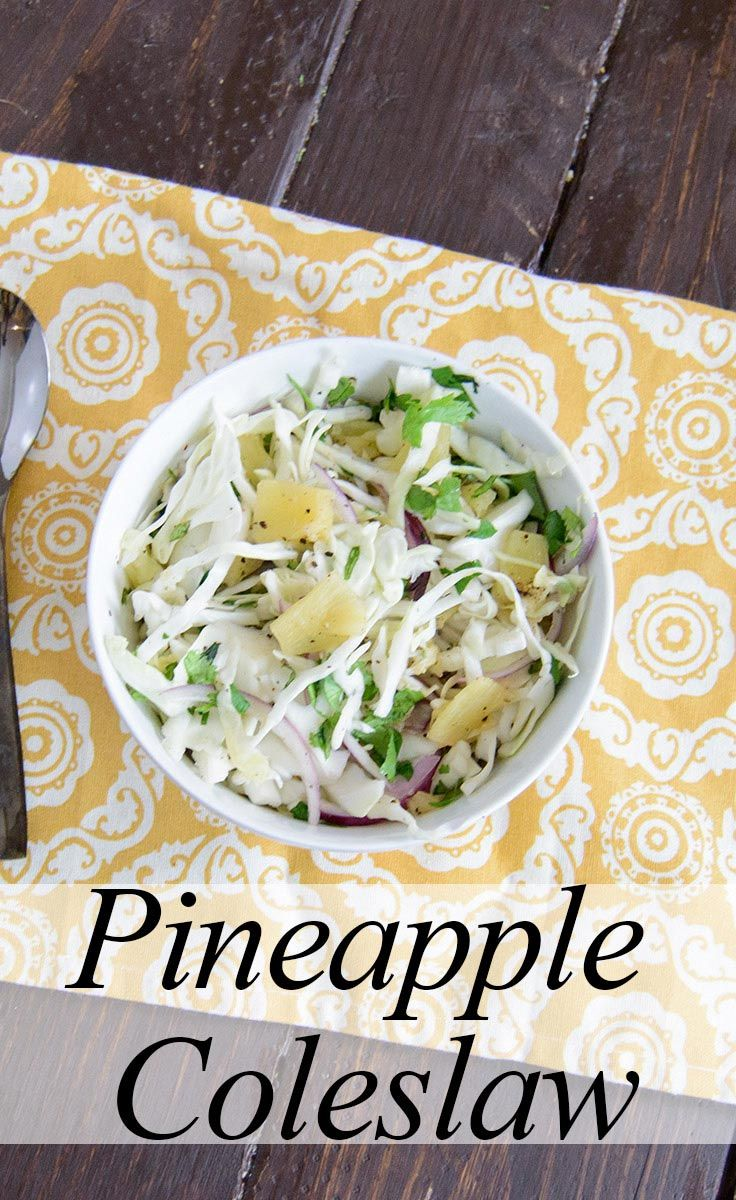 Pineapple Coleslaw Recipe - easy, healthy coleslaw recipe. No dairy or mayo, can easily sit out at room temperature! Vegan, gluten free, low fat, paleo| www.PancakeWarriors.com