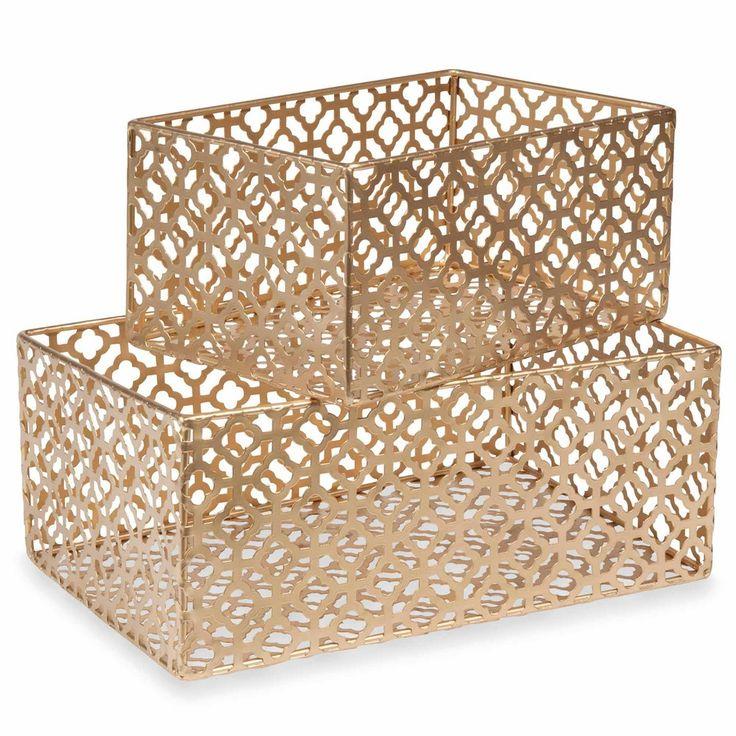 Gold storage boxes perfect for Art Deco inspired interiors | ÉLÉGANCE 2 gold metal baskets | Maisons du Monde | Elegance