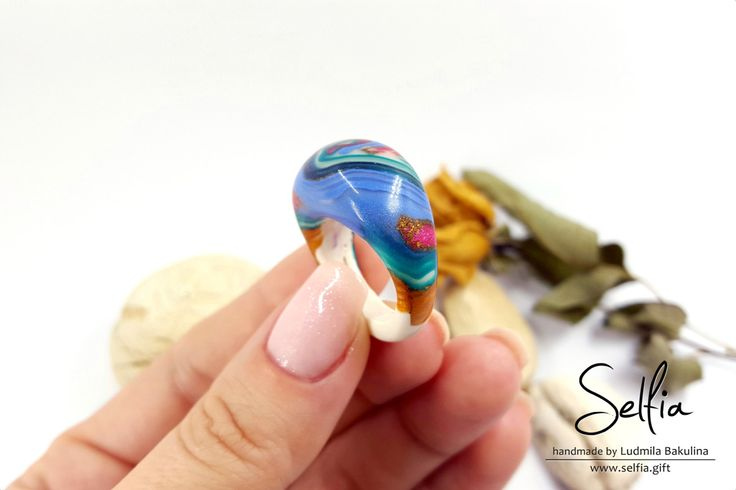 Light Rainbow Ring - One of a Kind Ring - Polished Shiny Ring - Unique Handmade - Polymer Clay Jewelry - Lovely - Gift Ideas - Ready To Ship by SweetyBijou on Etsy
