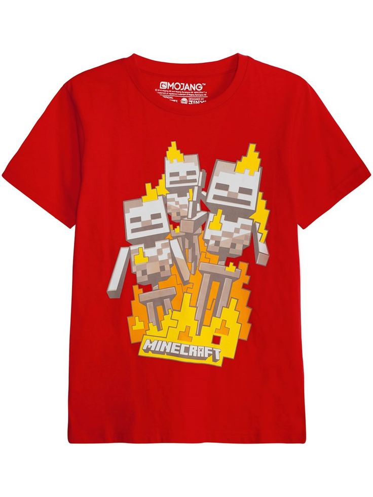 Pehmeää puuvillamateriaalia oleva, Minecraft-aiheinen T-paita, jossa pieniä hahmoja. - Pyöreä pääntie - Lyhyet hihat - Yksivärinen takakappale