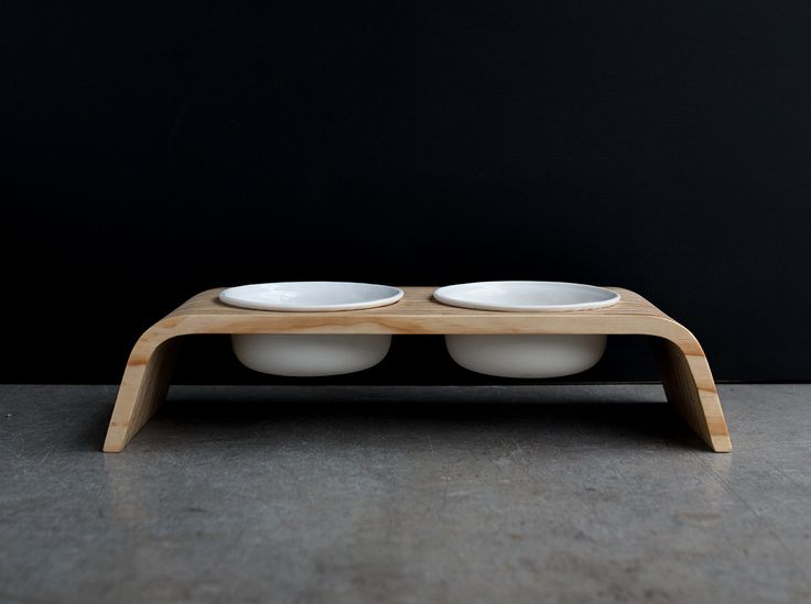 Modern Dog Feeder | Pine Stand | Porcelain Bowls | Short Version