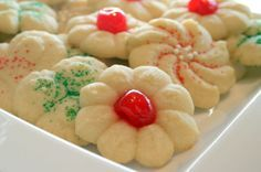 This recipe goes back over 20 years, using the highest quality butter will make a huge taste difference to these cookies, I like to add in a pinch of cinnamon, coating in the confectioners sugar is only optional - these cookies may also be made using a cookie press fitted with a star, stick a small maraschino cherry into the middle of the cookie before baking if desired