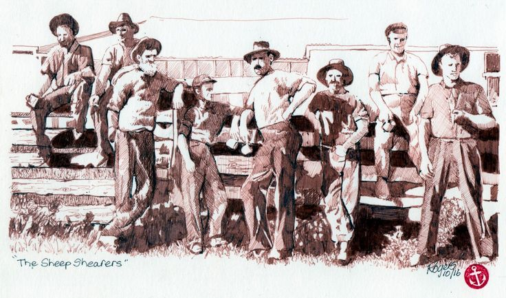 The Shearers in Sepia.   (Artist:  Kevin Rogers)