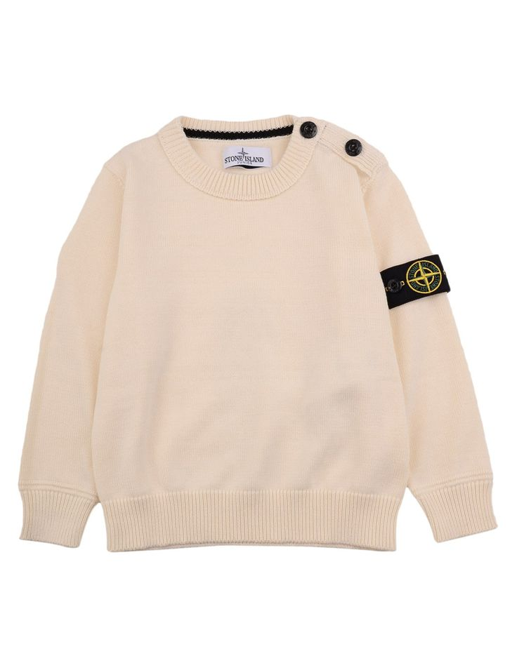 Stone island Cream Cotton Knitted Crew Neck Jumper | Accent Clothing