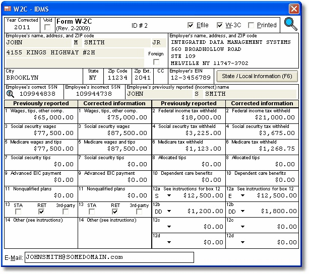 Account Abilitys W-2C User Interface Corrected Wage And
