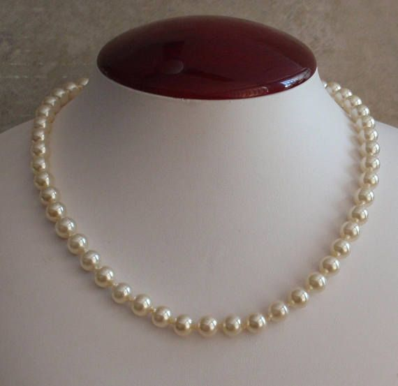 """16/"""" Necklace of White Fresh Water Pearls with Gold Tone Fishhook Clasp"""