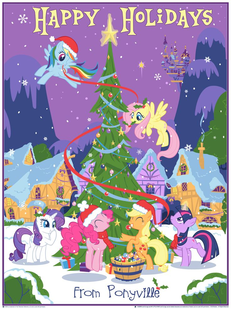 Our Pony Christmas Tree CANVAS EDITION - My Little Pony Holiday Print