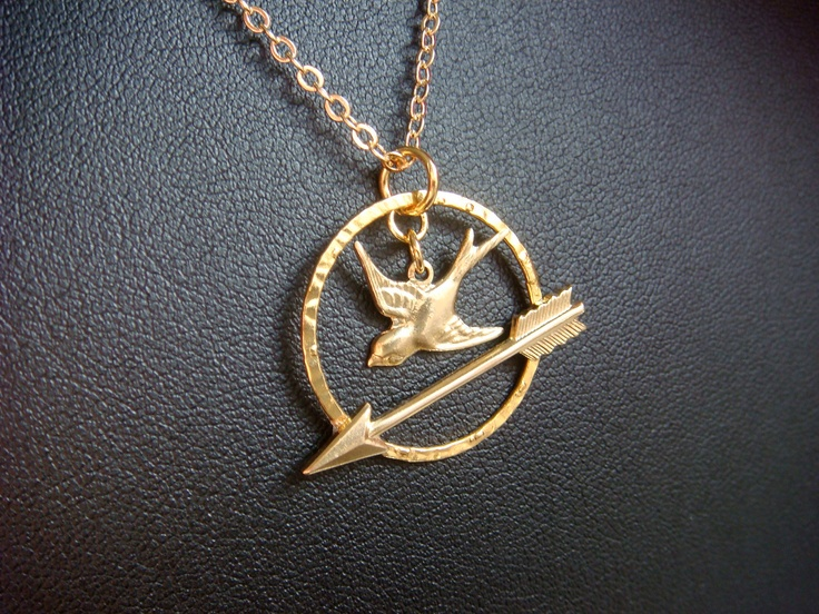 Hunger Games Necklace Mockingjay Bird And Arrow  by LoveMontreal, $22.00