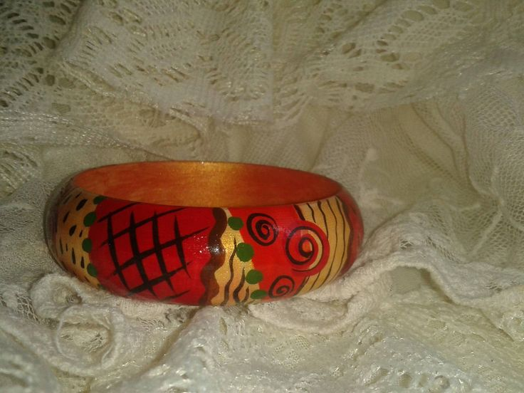 "Wooden painted bracelet ""Strawberry"", boho, ethnic, hippie, summer jewel by RussianStore on Etsy"