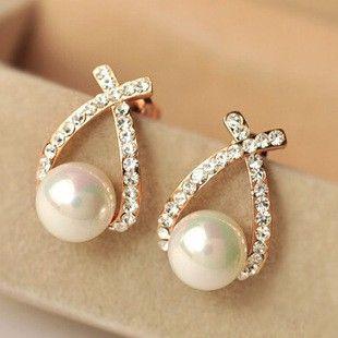 Cross Rhinestone Pearl Stud Earrings Women's Accessories TCDE0122 #Jewelry #WomensJewelry