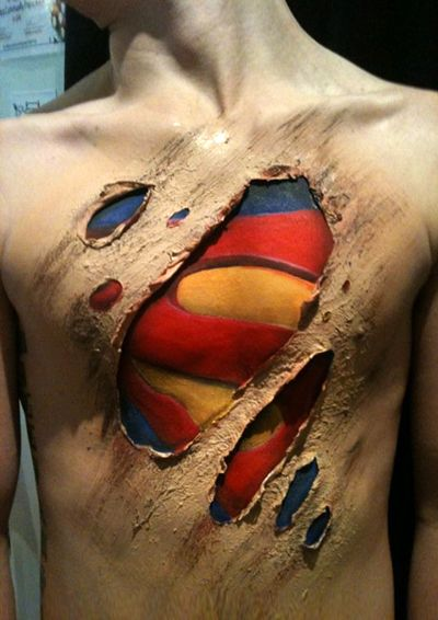 Special Effects Latex Body Painting Superman Julie Tattam Making Faces