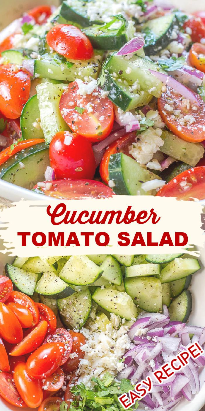 Cucumber Tomato Salad Cool Summer Side In 2020 Clean Eating Salads Cucumber Tomato Salad Healthy Salad Recipes