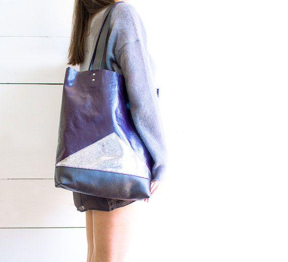 Metallic Purple Leather Shopper, Summer Tote, Silver Black Bag, Geometric Hobo, Everyday Market Tote Bag, Retro Laptop Purse, Ready to Ship