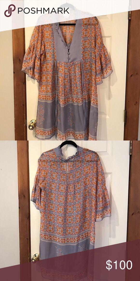 Anna Sui for Anthropologie 100% silk geometric midi dress excellent condition. Includes slip Anna Sui Dresses