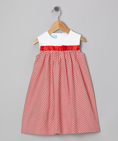 Take a look at this Red Stripe Bow Float Dress - Infant & Toddler by Monday's Child on #zulily today!