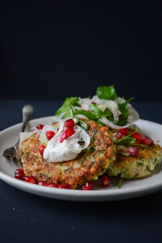 Cauliflower Fritters with Tahini Yogurt Sauce by scalingback #Cauliflower_Fritters #Healthy #Light