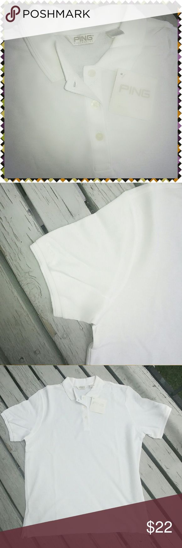 White PING Golf Polo shirt White PING Golf Polo shirt 100% Pima Cotton  Made in Peru  Runs 1 size small.  Great gift for ⛳ hubby or just for his Saturdays. Ping Shirts Polos