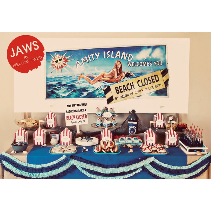 FULL PARTY SET - Summer Beach Party - Jaws Shark Attack - Printable Birthday Party Dessert Table Decor. $23.00, via Etsy.