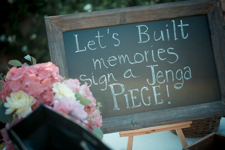 The guest book sign created with a blackboard