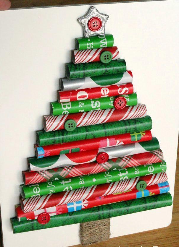Albero di natale creato con la carta regalo #paper #christmas #tree #DIY