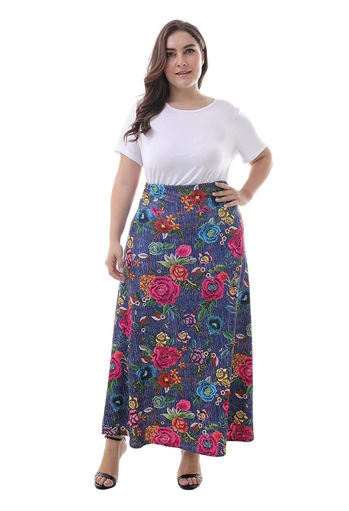 66066964d22 ZERDOCEAN Women s Plus Size High Waisted Bohemian Printed Long Skirt. Shop  skirts from our comfortable and trendy plus size bottoms to flatter every  figure.